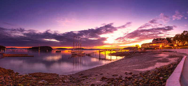 October Sunrise Over bar Harbor Twilight Before Dawn Panorama