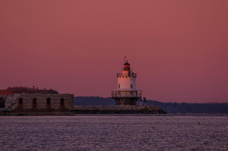 Spring Point Ledge Light at dawn, taken from Willard Beach, South Portland, Maine