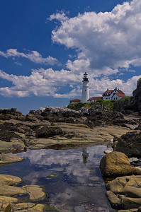 Portland Head Light July Reflection