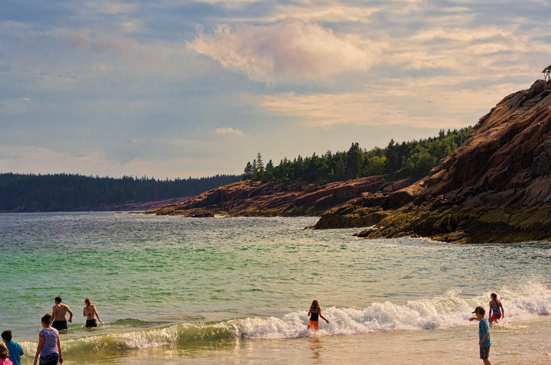 Enjoying Sand Beach, Acadia National Park