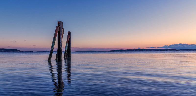 Old Dock Pilings just before dawn, East End, Portland, Maine.
