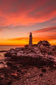 January Sunrise, Portland Head Light, Cape Elizabeth, Maine