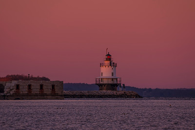 New Year's Eve Sunset at Spring Point Ledge Light, South Portland, Maine