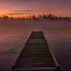 Misty Dock at Wilson's Camps, Moosehead Lake, Maine