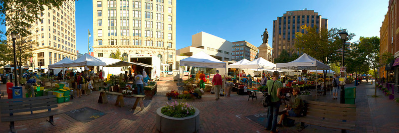 Portland, Maine Farmer's Market, August 2008.  A 22 image panoramic photo. Hover cursor over photo to be offered the menu to enlarge and see it in its fuller size.  All panoramas are $100.00, unmatted.  Matted option not available.