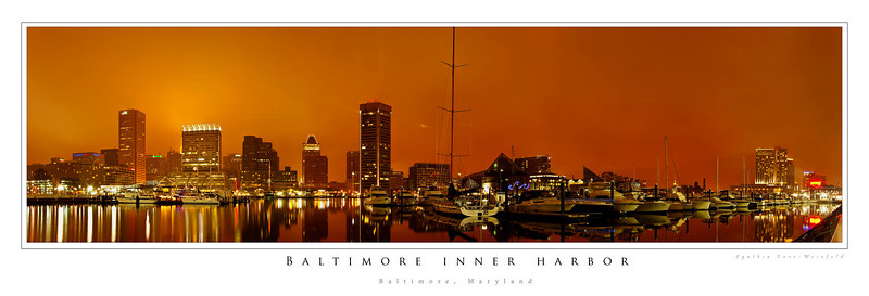 Baltimore Inner Harbor panorama--Taken New Years Eve 2007.  Make sure when you order any panoramic posters to check the NO CROPPING option as they guide you through the order process.