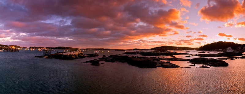 Stonington Harbor Sunset panorama