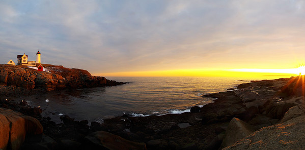 Nubble Light, York Beach, Maine, in late November. Taken at sunrise, near Thanksgiving day.  Hover cursor over photo to be offered the menu to enlarge and see it in its fuller size.