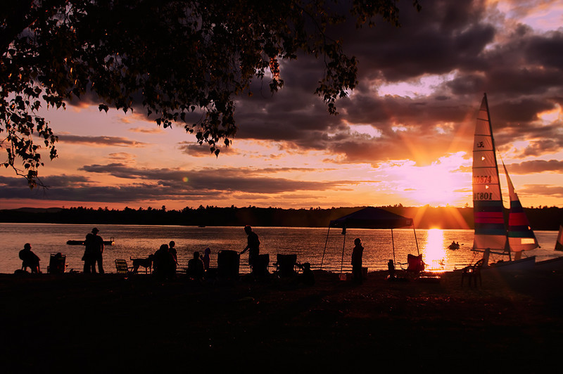Sunset People<br /> Sebago Lake at sunset.