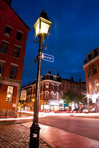 Twilight Lampost at the corner of Moulton and Fore Streets, The Old Port.