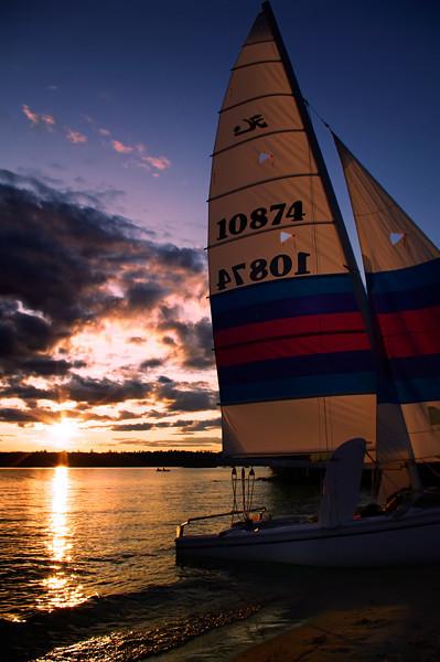 Catamarran Sunset 1<br /> Sebago Lake at sunset.