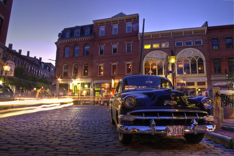 Back to the Future!<br /> A beautiful old Chevy from the late 40s or 50s looks as if it has just rolled out of the past into the future in the Old Port at twilight.  A Photomatix HDR composite of 4 bracketed images.