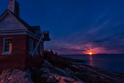 November Full Moonrise, Pemaquid Point, Bristol, Maine