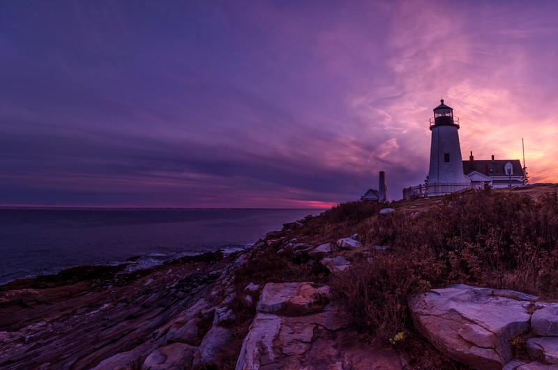 Pemaquid Point Light November Sunset Panorama, Bristol, Maine