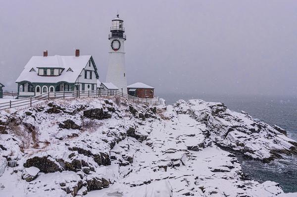 Snowstorm on the Rocks at Portland Head Light, Cape Elizabeth, Maine
