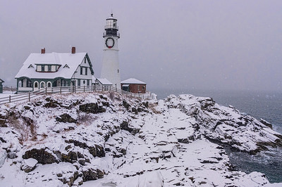 Snowstorm on the Rocks at Portland Head Light, Cape Elizabeth, Maine