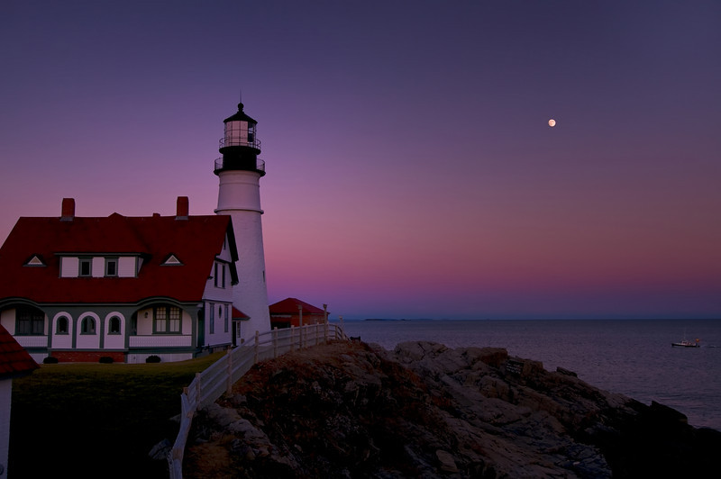 Portland Head Light November Moonrise