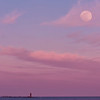 98.2% Full Moon over Ram Island Light, Cape Elizabeth, Maine