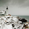 Snowy Portland Headlight--Taken during the first snowstorm of December 2007. The wind was blowing hard as big, fat snowflakes whirled around me and my camera.