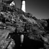 Monochrome Reflections of Portland Head Light, Cape Elizabeth, Maine