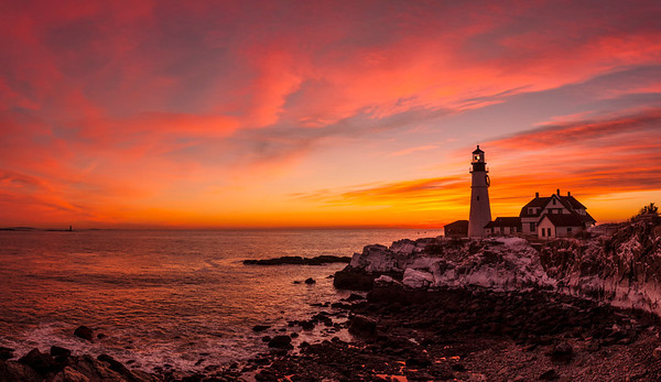 Portland Head Light January 2014 Sunrise, Cape Elizabeth, Maine.  A 10 image handheld panorama.
