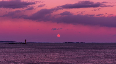 Ram Island Light at Moonrise in December.  Cape Elizabeth, Maine.