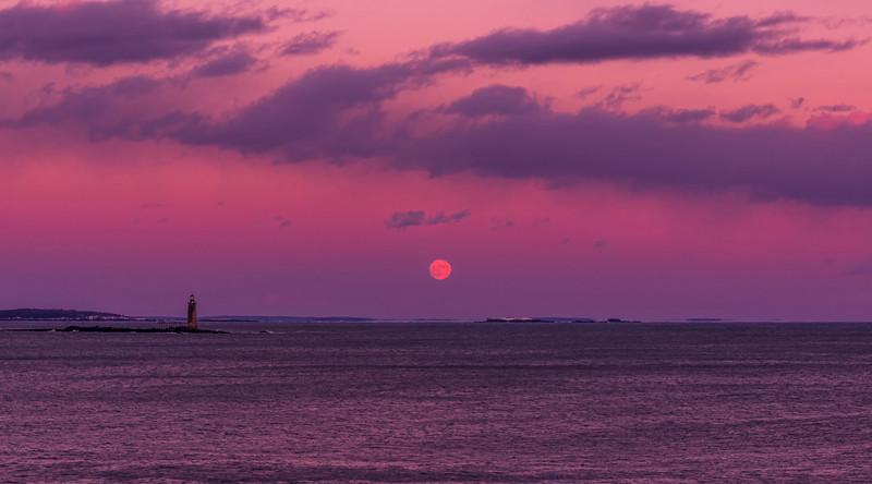 Ram Island Light at Moonrise in December.  Cape Elizabeth, Maine.