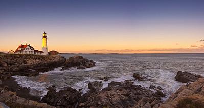 15 image panorama in October of Portland Head Light, Cape Elizabeth, Maine