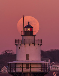 January Full Moon Spring Point Ledge Light 1, South Portland, Maine