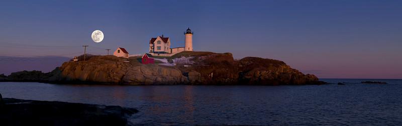 Full Moon over Nubble Light, York, Maine.