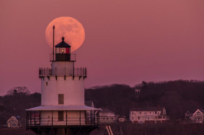 January Full Moon Spring Point Ledge Light 2, South Portland, Maine