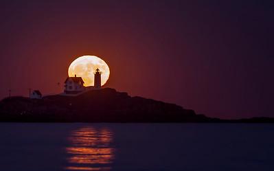 "November 2016 Super ""Super Moon"", Nubble Light, York, Maine 3"