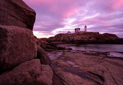 Nubble Light, York, Maine at sunset