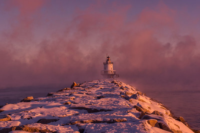 New Year's Sunrise, Spring Point Light 1, South Portland, Maine