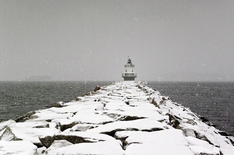 Snowy Spring Point Light, South Portland, Maine