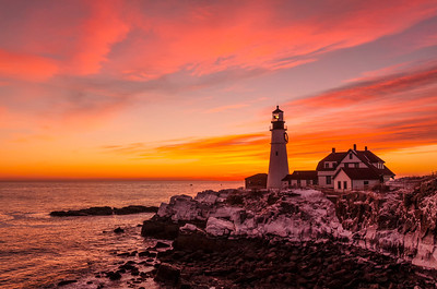Portland Head Light January 2014 Sunrise--a single image from the same time as the pano I took next to this shot.  Cape Elizabeth, Maine.