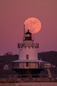 January Full Moon Spring Point Ledge Light 3, South Portland, Maine