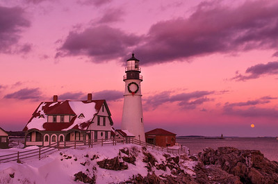 December Moonrise Portland Head Light 2, Cape Elizabeth, Maine.