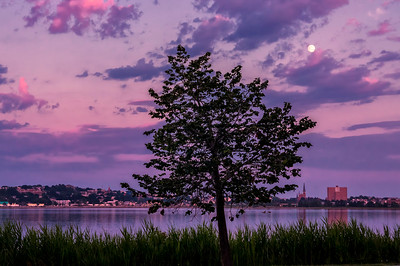 Sunset and Moonrise over Portland, Maine