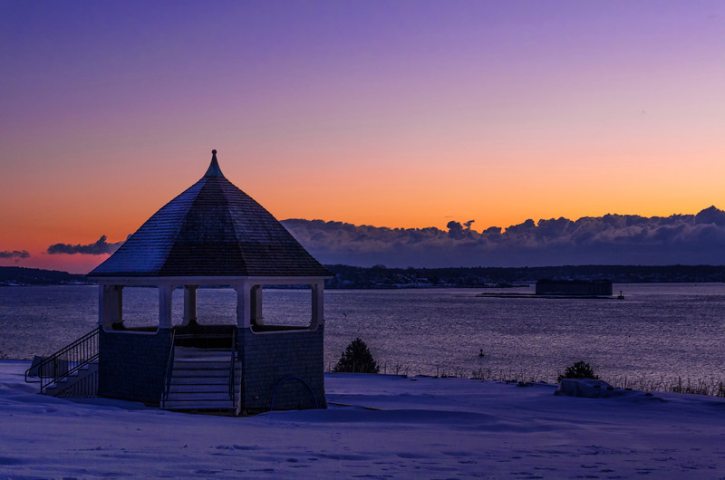 New Year's Day 2014, Portland, Maine's Eastern Promenade at the Band Shell, during Civil Twilight.  It was bitterly cold, but beautiful out.