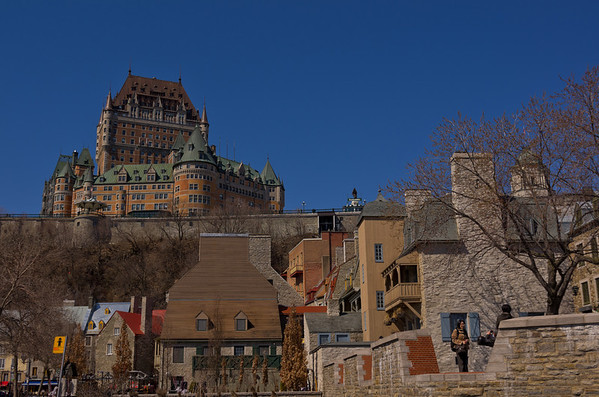 Looking up towards Chateau Frontenac from Place Royale, Quebec City