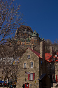 Looking up towards Chateau Frontenac from Place Royale, Quebec City 2