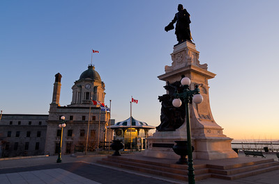Statue of Samuel de Champlain, Quebec City, in front of Chateau Frontenac
