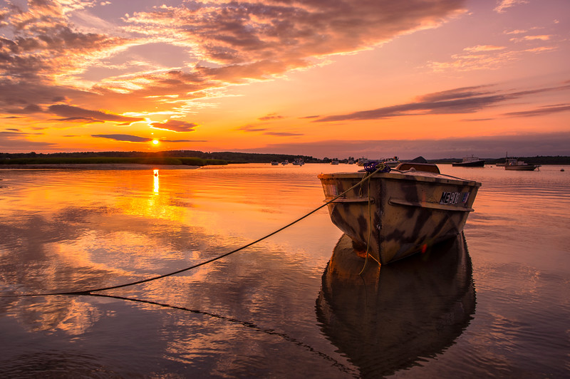 Golden Pine Point Sunset Boat, Scarborough, Maine