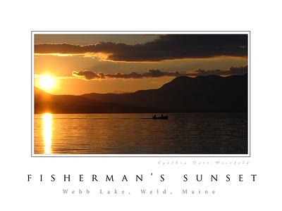 Fisherman's Sunset Poster--taken at Kawanhee Inn, Weld, Maine.