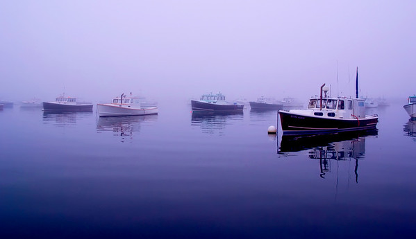 Fogged In--Taken June 2008 in Bernard, ME during a week of intense fog. These lobster boats were utterly becalmed on the mirror-smooth water. The harbor was silent other than the sounds of seagulls crying.