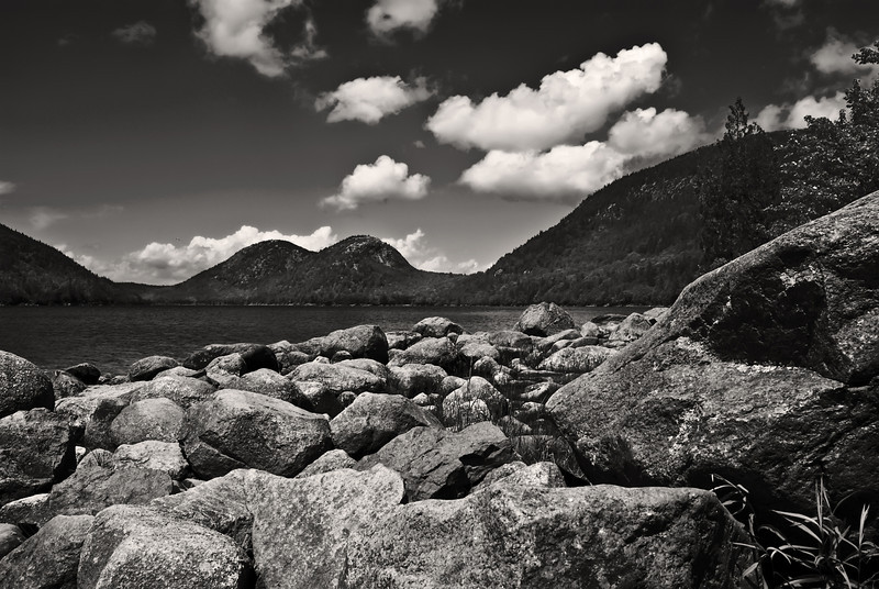Jordan Pond, Acadia National Park, monochrome