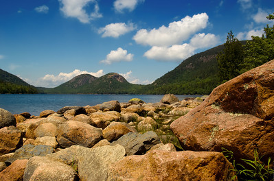 "Jordan Pond--Taken on a rare moment of beautiful sun in a week filled with fog, June 2008, Seal Harbor, ME, Acadia National Park. View of ""the Bubbles"" mountains in the background."
