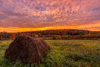 Hay bale sunrise, Wilton, Maine