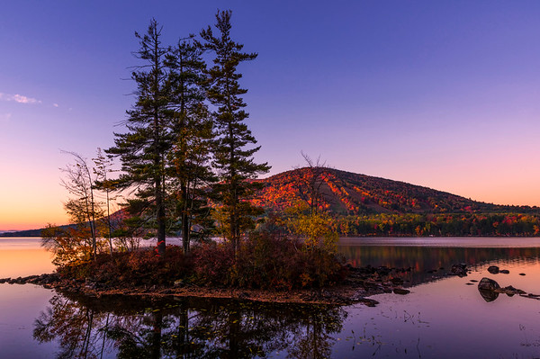 Autumn at Shawnee Peak, looking across Moose Pond, Bridgton, ME